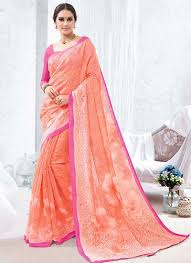 beautiful baby pink luxury silk saree
