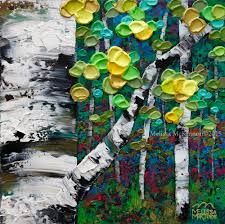 colourful autumn fall birch and aspen tree painting by calgary