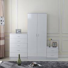 Bedroom Furniture White Gloss Homcom High Gloss 3 Trio Bedroom Furniture Set Wardrobe