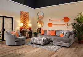 The Application Of Orange And Cool Grey In This Living Room Set - Stylish living room furniture orange county property