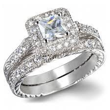 wedding ring bridal set engagement wedding ring set certified 1 carat princess cut
