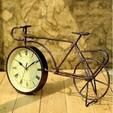 retro vintage style metal bike bicycle clock home decor table