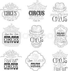 set of hand drawn monochrome circus show promotion signs in pencil