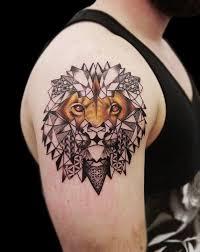 linework dotwork geometric realistic lion tattoo by obi tattoos