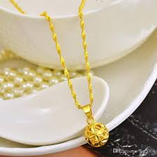 gold bead pendant necklace images Wholesale carved yellow bead pendant necklace for women 24k gold jpg