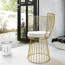 Cb2 Patio Furniture by Alexandria Metal Gold Chair With Natural Cushion Natural