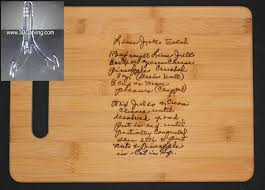 cutting board with recipe engraved recipe scanned from s or s handwriting