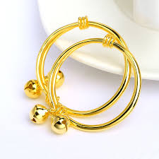 child bangle bracelet images 2pcs set cute pairs children bangle yellow gold filled smooth bell jpg