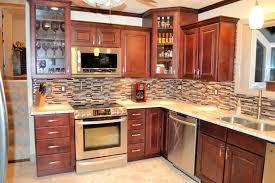 white tile backsplash rustic kitchen island golden brick pattern