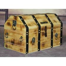 large wooden pirate lockable trunk with rings