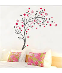 59 off on uberlyfe red pink flower tree wall sticker for home