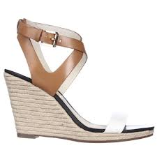 lyst michael kors michael kaylee wedge criss cross sandals in white