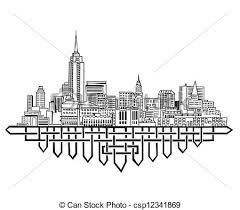 clip art vector of new york skyline black and white vector