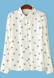 print blouses beige lapel sleeve print blouse shein sheinside