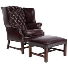 Chesterfield Wing Armchair Oversized Lillian August Brown Tufted Leather English Chesterfield