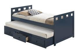 kids room navy blue captain twin trundle bed with drawers which is