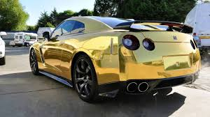 cool wrapped cars nissan gtr in gold chrome wrap youtube
