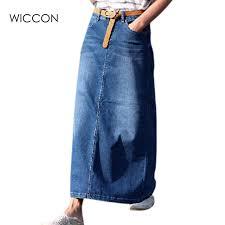 denim maxi skirt autumn fashion women denim skirt casual jupe maxi