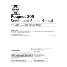 peugeot 205 user manual 249 pages