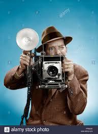 4x5 Photo Album 1950s Press Photographer Man Holding A 4x5 Speed Graphic Camera