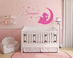 wall stickers for nursery kids children wall decals baby boy custom girl name fairy on moon stars and bird nursery bedroom wall decor