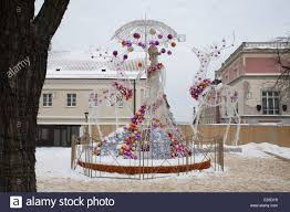 large scale exterior christmas decorations in warsaw poland stock