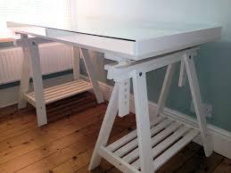 Trestle Computer Desk Ikea White Vika Gruvan Artur Glass Display Trestle Desk Table