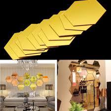 Home Decoration Art 3d Mirror Hexagon Vinyl Removable Wall Sticker Decal Home Decor