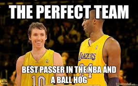 Funny Lakers Memes - the perfect team best passer in the nba and a ball hog lakers