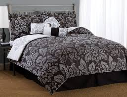 black and white flower bedding comforter set with double matching