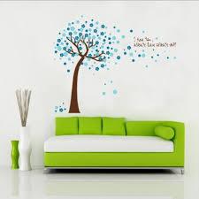 pretty tree with flowers around wall sticker