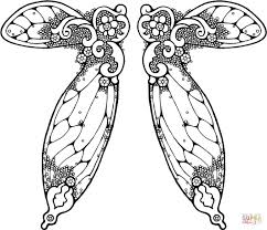 double fairy wings coloring page free printable coloring pages