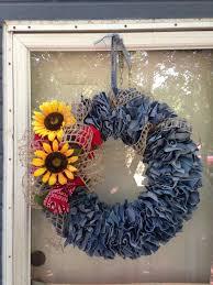 denim wreath made out of blue wreaths