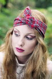 1950s headband tartan wire headband dolly bow tartan headband 1950s pin up