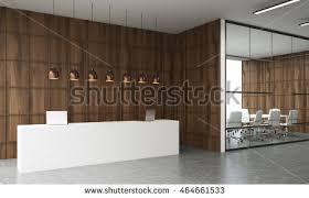white reception desk standing office glass stock illustration
