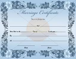 fake blank marriage certificate template
