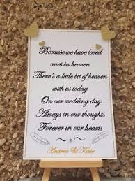 wedding memorial sign personalised wedding memorial sign remembering loved ones in