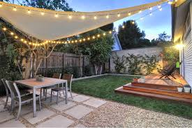 Lighting For Patios Shade Sail Triangular With Party Lights Outdoor Dining Area