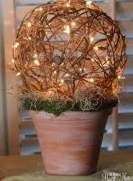 grapevine balls grapevine topiary lighted diy light terra cotta and flower