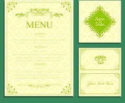 wedding menu template green design classical curves decor free
