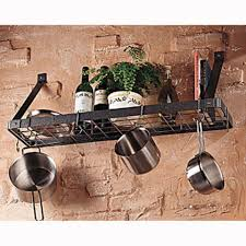 good looking wall mounted pot and pan rack with black finish to