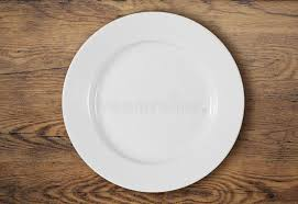 plate table top white dinner plate on wooden table top view stock image image of
