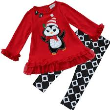 2Pcs Baby Girls Kids Christmas Suit Red Penguin Top Shirt Skirt
