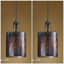 Pool Table Ceiling Lights Two 16 Copper Finish Hanging Pendant Lights Rustic Western