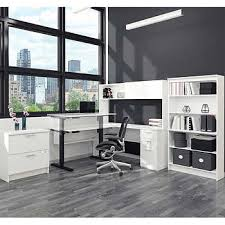White L Shaped Desk With Hutch Height Adjustable Desks Costco