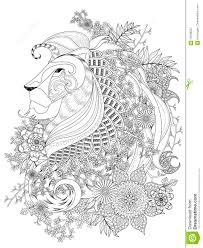 lion coloring page stock vector image 70486931