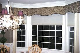 the drapery shop shaped cornice in a bay window