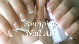 stamping nail art designs classic french tip nails flower