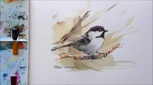 watercolor tutorial chickadee line and wash black capped chickadee great for begginers in
