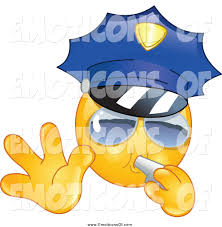 clip art vector cartoon of a police emoticon gesturing to stop and